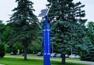 College Blue Light Tower Emergency Phone Installation