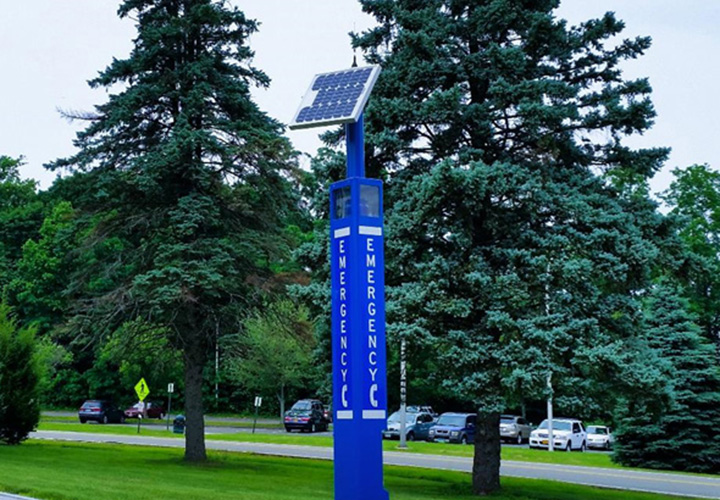 College Blue Light Tower Emergency Phone Installation