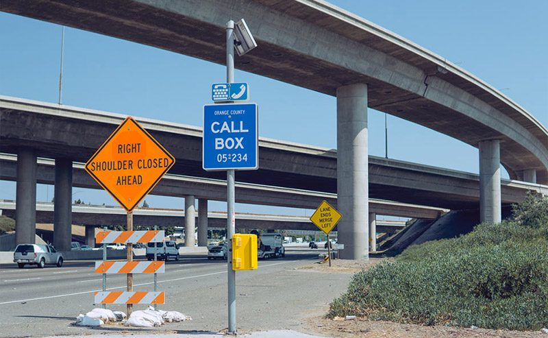 Gallery Overpass Freeway Irvine CA Lexan Call Box Emergency Phone Installation
