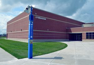 Gymnasium Blue Light Tower Emergency Phone Installation