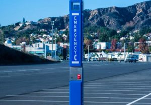 Mt. San Antonio College Parking Blue Light Tower Emergency Phone Installation