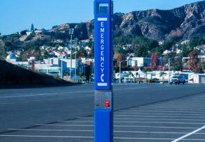 Mt. San Antonio College Parking Blue Light Tower Emergency Phone Installation