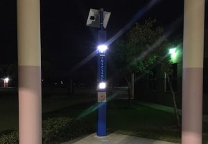 Shopping Center Blue Light Tower Emergency Phone Installation
