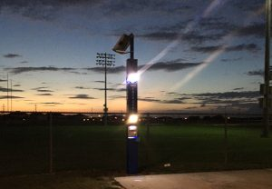 Stadium Blue Light Tower Emergency Phone Installation